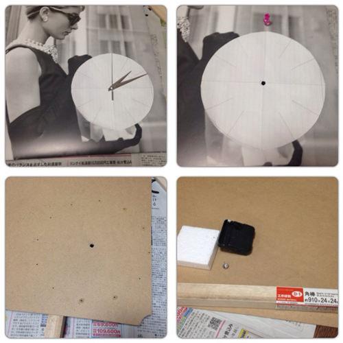 3. まずポスターと板材に機械やプッシュピンを刺すための穴を開けます。画鋲で痕をつけドリルで穴を大きくしました。その後板材の裏面に、機械やプッシュピンの針より厚みのある角材を上下に組んで壁にかけたときに平らになるようにします。