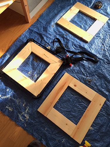 1. まずは下段のBOX作り。 SPF材をつなげていきます。