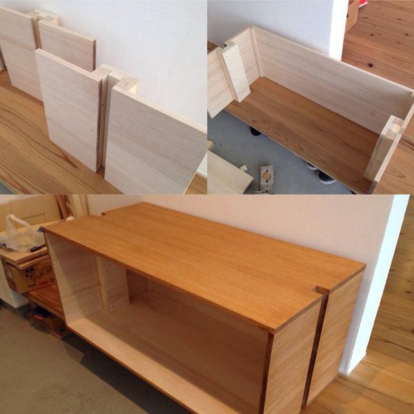 1. 大きい方の靴棚には収納BOXを付けます。 まずは、ファルカタ集成材を目的のサイズにカットして、組み立ていきます。材料費を抑える為にファルカタ集成材をつかいました。ビスが効きにくいので、ダボ継ぎで組み立ていきます。