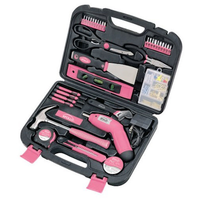 かわいいピンクの工具135種類のツールセット