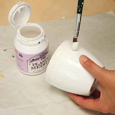 安っぽいプラスチックの植木鉢を<br>変身させる
