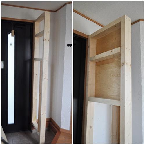 1. 角材で木枠を作り裏側からベニヤ板を張り付けました